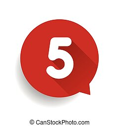 Number five 5 speech bubble red