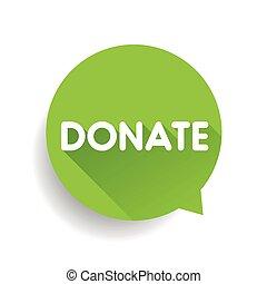 Donate label bubble vector green