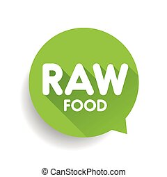 Raw Food label vector green