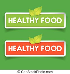 Healthy food label vector set