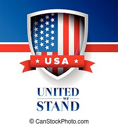USA flag - United we stand poster or banner