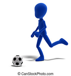 symbolic 3d male toon character plays soccer or football. 3D rendering with clipping path and shadow over white