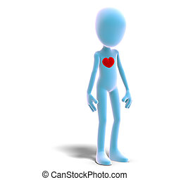 symbolic 3d male toon character has a heart. 3D rendering with clipping path and shadow over white