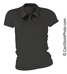 Women Black Polo Shirts Template