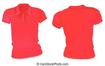 Women Red Polo Shirts Template