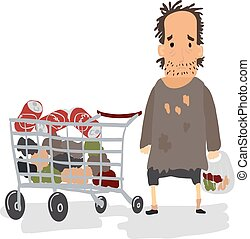 Cartoon Homeless with Shopping Cart Vector illustration