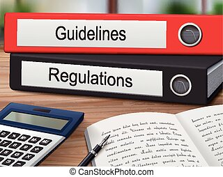 guidelines and regulations binders isolated on the wooden...