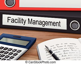 facility management binders isolated on the wooden table 3D...