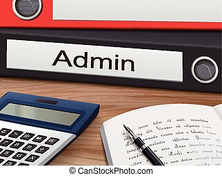 admin on binders - admin binders isolated on the wooden...