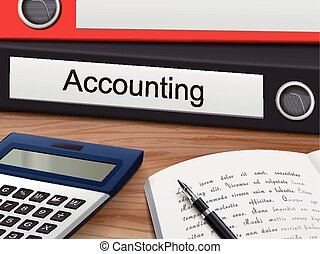 accounting on binders - accounting binders isolated on the...