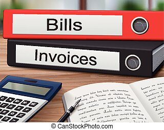 bills and invoices on binders - bills and invoices binders...