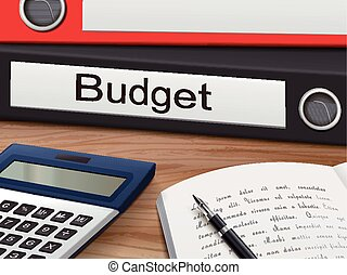 budget on binders - budget binders isolated on the wooden...