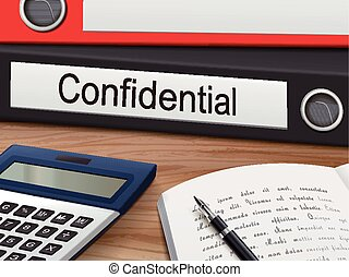 confidential on binders - confidential binders isolated on...