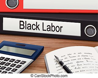 black labor binders isolated on the wooden table 3D...