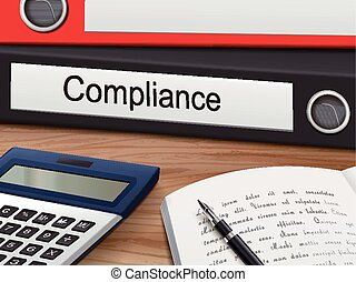 compliance on binders - compliance binders isolated on the...