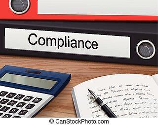 compliance on binders - compliance binders isolated on the...