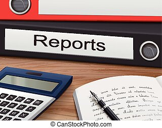 reports on binders - reports binders isolated on the wooden...