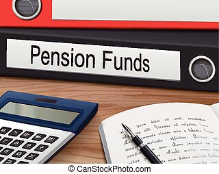 pension funds on binders - pension funds binders isolated on...