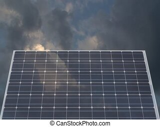 solar cell against cloudy sky