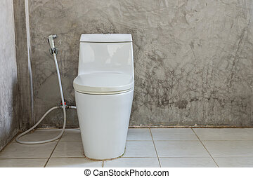 White toilet bowl near the wall in bathroom - Old of white...