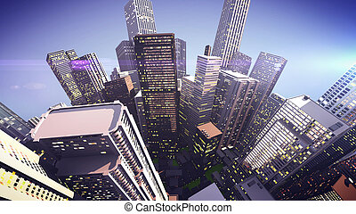 Skyscrapers on a globe city 3D rendering Concept