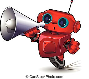Robot with Megaphone - Illustration Red Robot Speed in a...