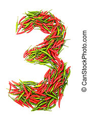 Numbers with green and red peppers - number