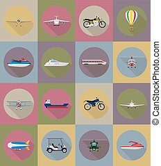 transport flat icons vector illustration isolated on...