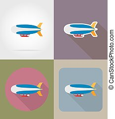 zeppelin flat icons vector illustration isolated on...