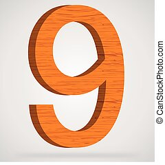 Wooden numeric with drop shadow on isolated white background