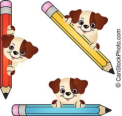 Funny dog with pencil