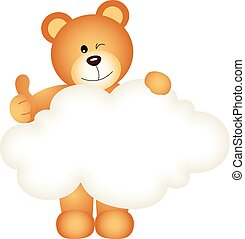 Teddy bear holding blank cloud
