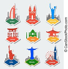 Set of stickers in different countries