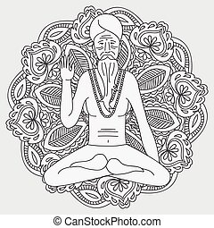 outline yoga meditating sadhu, logo asia hinduism monk,...