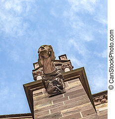 gargoyle made of Sandstone at Freiburg Minster - gargoyle...