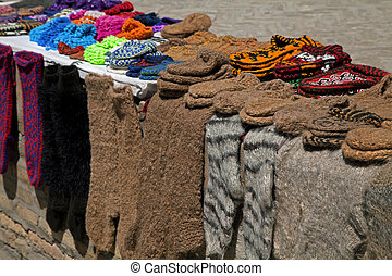 Knitted socks and slippers, Uzbekistan - Street market with...