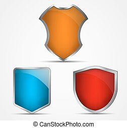 Set of icons of different colors and shapes of shields