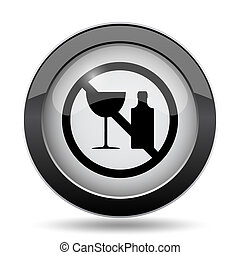 No alcohol icon Internet button on white background