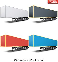 Set of parked semi trailers