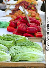 letucce red pepper tomatoes on market store - lettuce red...