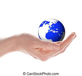 world on your handy - world or globe in your hands isolated...