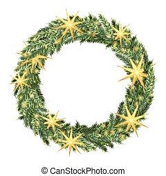 Christmas wreath template - Christmas wreath isolated on...