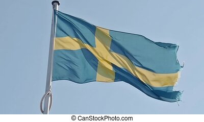 Waving Swedish flag in retro colors - Waving Swedish flag on...