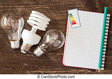 Light bulbs and notebook with energy efficiency label -...