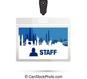 staff card cityscape