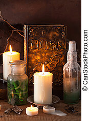 witch apothecary jars magic potions book halloween...