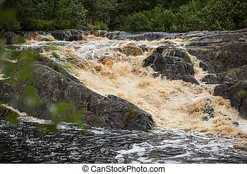 Waterfall in Karelia, Russia - Ahvenkoski waterfall and...