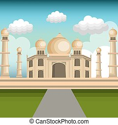 monument india taj mahal design vector illustration eps 10