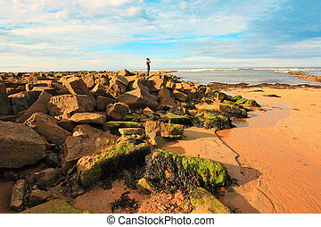 Man watching the sea at Cambo Beach, fife, Scotland