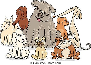 cartoon purebred dogs group - Cartoon Illustration of Cute...